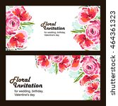 invitation with floral... | Shutterstock . vector #464361323