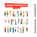 vector flat woman portraits... | Shutterstock .eps vector #464368247