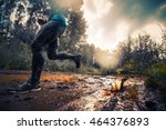 trail running athlete crossing... | Shutterstock . vector #464376893