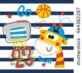 cartoon cute giraffe basketball ... | Shutterstock .eps vector #464382287