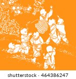chinese paper cut works ... | Shutterstock . vector #464386247
