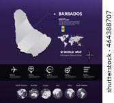 barbados map vector... | Shutterstock .eps vector #464388707