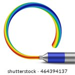 tube of rainbow colored paint... | Shutterstock .eps vector #464394137