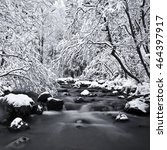 Small photo of Stitched Panorama Winter landscape River Scow Russian severe winter Black and white