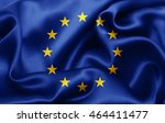europe union flag of silk 3d... | Shutterstock . vector #464411477