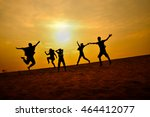 silhouette people with sunset... | Shutterstock . vector #464412077
