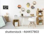 cozy white room designed for...   Shutterstock . vector #464457803