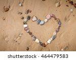 Heart In Stones On Beach