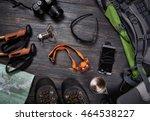 hiking accessories set on dark... | Shutterstock . vector #464538227