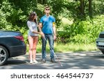 young woman helping blind man... | Shutterstock . vector #464544737