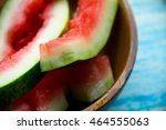 eaten slice of watermelon.... | Shutterstock . vector #464555063