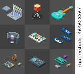 home recording studio icons set.... | Shutterstock .eps vector #464623367