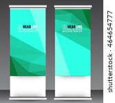 abstract green roll up banner... | Shutterstock .eps vector #464654777