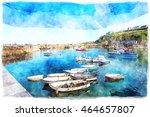 watercolour painting of the... | Shutterstock . vector #464657807