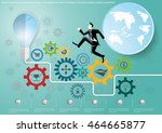 vector businessman runs and... | Shutterstock .eps vector #464665877