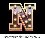 golden lamp signboard font.3d... | Shutterstock . vector #464692637