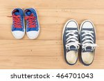 two  blue sneaker of mother or... | Shutterstock . vector #464701043