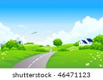 green landscape with trees and... | Shutterstock .eps vector #46471123