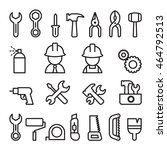 tools icon set in thin line...   Shutterstock .eps vector #464792513
