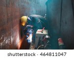 male  worker wearing protective ... | Shutterstock . vector #464811047