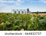 four silver silos in a wheat... | Shutterstock . vector #464832737
