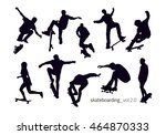 set of black silhouettes of... | Shutterstock .eps vector #464870333