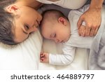 top view of beautiful young mom ... | Shutterstock . vector #464889797