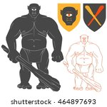 cyclops with a club... | Shutterstock .eps vector #464897693