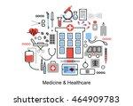 modern flat thin line design... | Shutterstock .eps vector #464909783