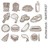 hand doodle drawing junk food... | Shutterstock .eps vector #464919437