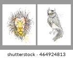 set of hand drawn portrait of...   Shutterstock .eps vector #464924813