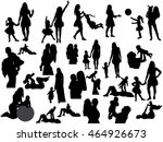 isolated  silhouette of mother ... | Shutterstock .eps vector #464926673