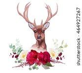 deer and elegant autumn... | Shutterstock .eps vector #464927267