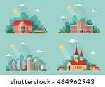 set of icons of urban life.... | Shutterstock .eps vector #464962943