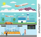 airport passenger terminal and... | Shutterstock .eps vector #464970257