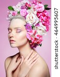 beautiful girl  isolated on a... | Shutterstock . vector #464995607