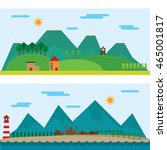 scenery forest highland and... | Shutterstock .eps vector #465001817
