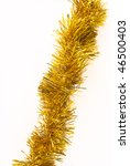 gold tinsel isolated on a white ...