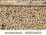 Chopped Stacked Dry Firewood