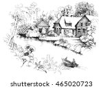 black and white sketch of...   Shutterstock . vector #465020723