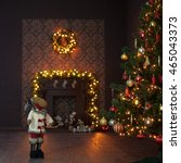 christmas interior with garland ... | Shutterstock . vector #465043373