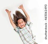 little boy hanging upside down   Shutterstock . vector #465061493