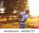 happy father and son child... | Shutterstock . vector #465061757
