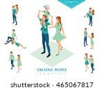 isometric people family set a | Shutterstock .eps vector #465067817