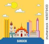 bangkok city skyline vector...   Shutterstock .eps vector #465073433