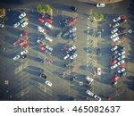 Top View Parking Lots With Row...