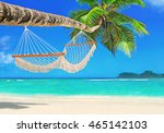 romantic cozy mesh hammock in... | Shutterstock . vector #465142103
