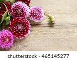 Dahlia Flowers On Wooden...