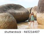 woman in green dress standing... | Shutterstock . vector #465216407