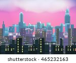 retro eight bit city skyline at ... | Shutterstock .eps vector #465232163
